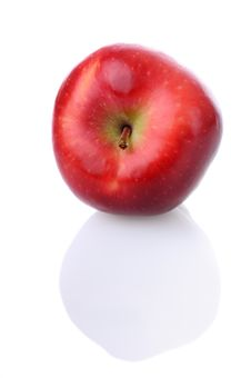 Free Red Apple With Stem And Reflection Stock Photography - 11389792