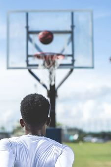 Free Man Wearing White Long-sleeved Shirt Near Basketball Hoop Royalty Free Stock Photography - 113947577