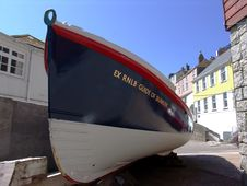 Old Lifeboat At Mevagissey Harbor Stock Photo