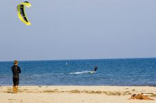 Kite Surfing, Kite Boarding Royalty Free Stock Images