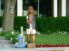 Free Wooden Pirate Statue Stock Image - 1141871