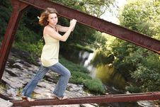 Free Girl On Bridge Stock Photo - 1143440