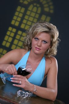 Free Girl With Wine Glass Stock Photo - 1144340