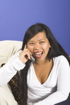 Free Happy Girl On Cellphone Royalty Free Stock Photography - 1145817