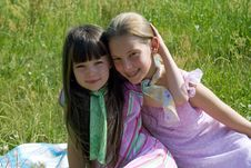 Free Girls On Meadow Royalty Free Stock Image - 1147206