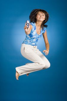 Free Jumping Happy Woman Royalty Free Stock Photography - 1148167