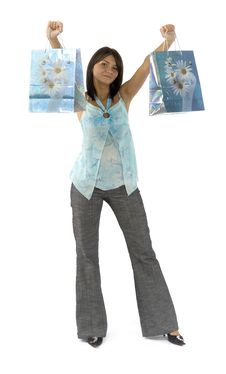 Free Woman - Customer With Paper Bags Royalty Free Stock Images - 1148229