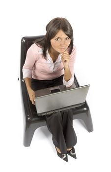 Free Woman Sitting; Working Computer Stock Images - 1148264