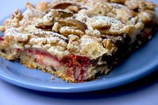 Cake With Plums And Walnuts Royalty Free Stock Image