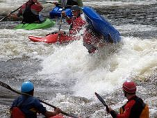 River Kayak Flip In A Hole Royalty Free Stock Photography