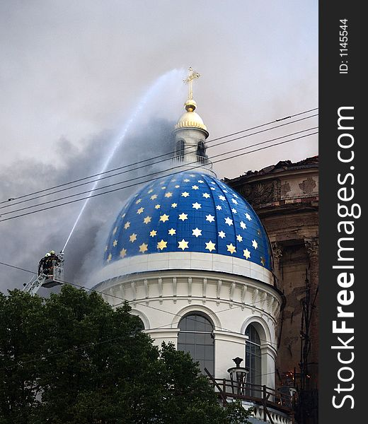 Trinity Cathedral in Saint-Petersburg on fire