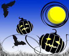 Halloween Night With Pumpkin Heads And Bats Royalty Free Stock Photos