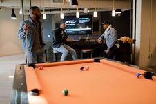 Free Man In Blue Denim Jacket Holding Cue Stick Stock Images - 114021444