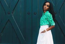 Free Woman Wearing Green Polka-dot Long-sleeved Dress Royalty Free Stock Photo - 114021445