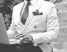 Free Grayscale Photo Of Man Wearing White Suit Jacket Royalty Free Stock Image - 114021476