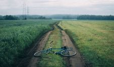 Free Landscape Photography Of Blue Commuter Bike On Green Grass Royalty Free Stock Image - 114021556