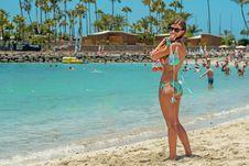 Free Woman Wearing Teal Bikini Standing Near Shore Royalty Free Stock Images - 114108599