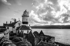 Free Grayscale Photo Of Lighthouse On Rocky Cliff Stock Image - 114264501