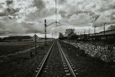 Free Grayscale Photograph Of Train Rail Royalty Free Stock Photography - 114321147