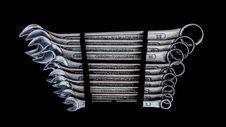 Free Wrench Set On Black Background Royalty Free Stock Photo - 114321235