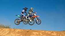 Free Two Person Riding Motocross Dirt Bikes Stock Image - 114378491