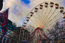 Free Ferris Wheel Under White Clouds Royalty Free Stock Image - 114378526