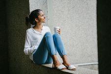 Free Woman Posing. Wearing White Dress Shirt Sitting On Window Royalty Free Stock Image - 114378586