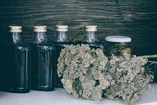 Free Four Clear Glass Bottles With Black Liquid Near Brown Flower Bouquet Royalty Free Stock Images - 114442919