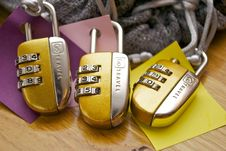 Free Three Gold-and-silver Combination Padlocks Stock Photos - 114510693