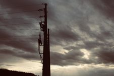Free Electric Post Under Gray Sky Stock Photos - 114510743