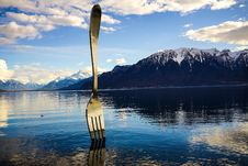 Free Gray Stainless Steel Fork On Water With Overlooking Mountain At Daytime Stock Image - 114510761