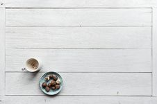 Free White Mug Filled With Coffee Beside Baked Pastries On Paper Plate All On Top Of White Wood Surface Stock Image - 114603201