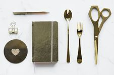 Free Top-view Photography Of Silver Spoon, Book, Fork, Scissors, And Pen Royalty Free Stock Photo - 114750835