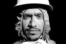 Free Grayscale Photograph Of Man Wearing Hooded Top And Hard Hat Stock Photos - 114750903