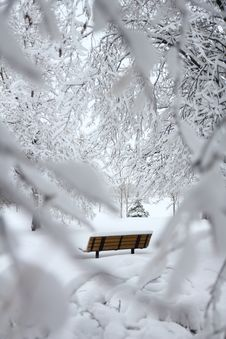 Free Brown Outdoor Bench With Snow On Top Stock Photos - 114750923