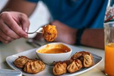 Free Fried Dumplings And Sauce Royalty Free Stock Images - 114825549