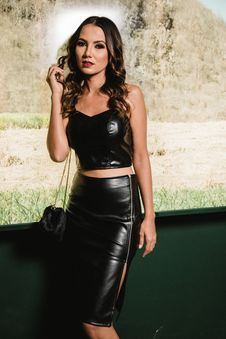 Free Photography Of Woman Wearing Black Leather Strapless Crop Top And Black Pencil Skirt Stock Image - 114825581