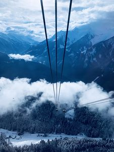 Free Cable Car Under White Clouds Royalty Free Stock Photos - 114825638