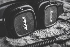 Free Grayscale Photography Of Black Marshall Headphones Stock Photography - 114892332
