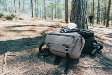 Free Photograph Of Two Duffel Bags Under The Tree In Forest Stock Photo - 114892360
