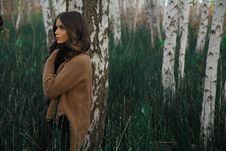 Free Woman Wearing Brown Sweater Standing On Woods Surrounded By Grass Royalty Free Stock Photo - 114892425
