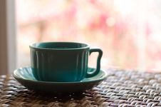 Free Teal Ceramic Cup And Saucer Stock Photos - 114892553