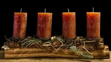 Free Four Brown Wax Candles Royalty Free Stock Images - 114892589