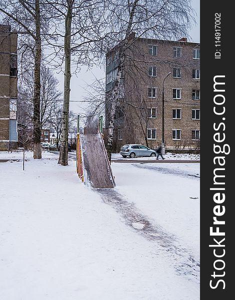Winter children`s slide