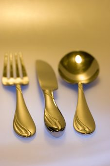 Free Knife, Fork, Spoon Colored Royalty Free Stock Image - 1154666