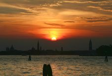 Free Sunset In The Lagoon Of Venice Royalty Free Stock Images - 1155509