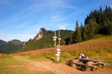 Mountains Landscape And Signpost Stock Photos