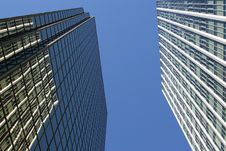 Free Double Towers Looking Up Royalty Free Stock Image - 1156406