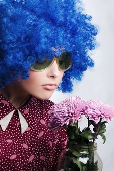 Free Young Beauty Clown With Flowers Stock Photography - 11502432