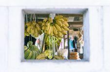 Free Bunch Of Hanged Bananas Stock Photography - 115013092